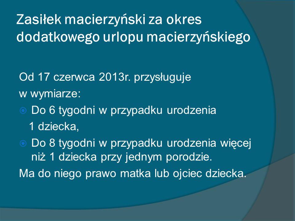 Zasiłek macierzyński za okres dodatkowego urlopu macierzyńskiego