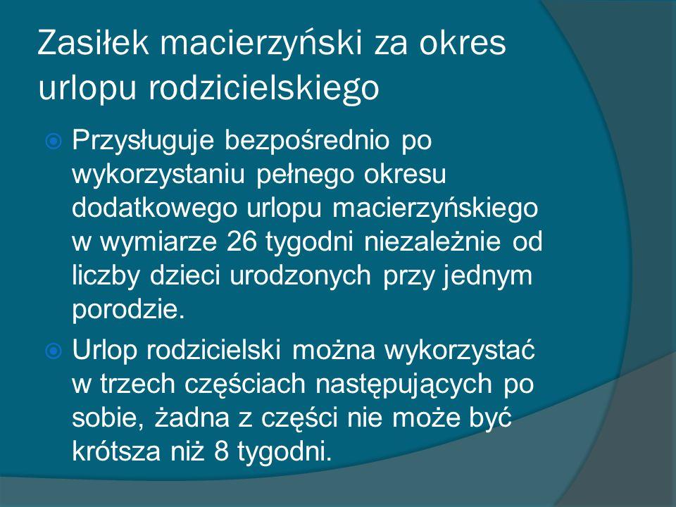 Zasiłek macierzyński za okres urlopu rodzicielskiego