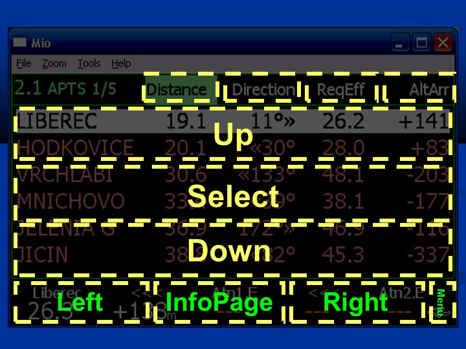 Up Select Down Left InfoPage Right Menu Żółty – krórtkie kliknięcie