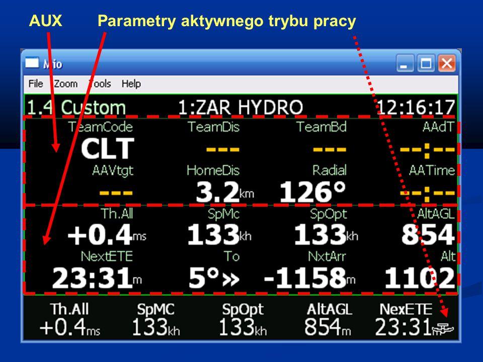 AUX Parametry aktywnego trybu pracy