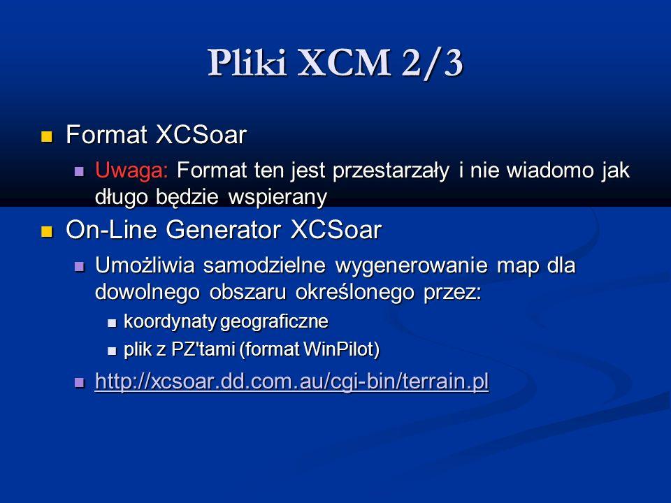 Pliki XCM 2/3 Format XCSoar On-Line Generator XCSoar