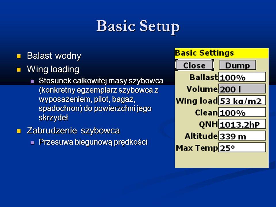 Basic Setup Balast wodny Wing loading Zabrudzenie szybowca