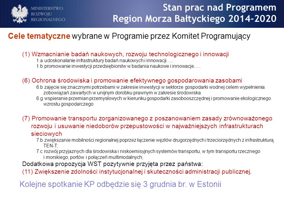 Stan prac nad Programem Region Morza Bałtyckiego 2014-2020