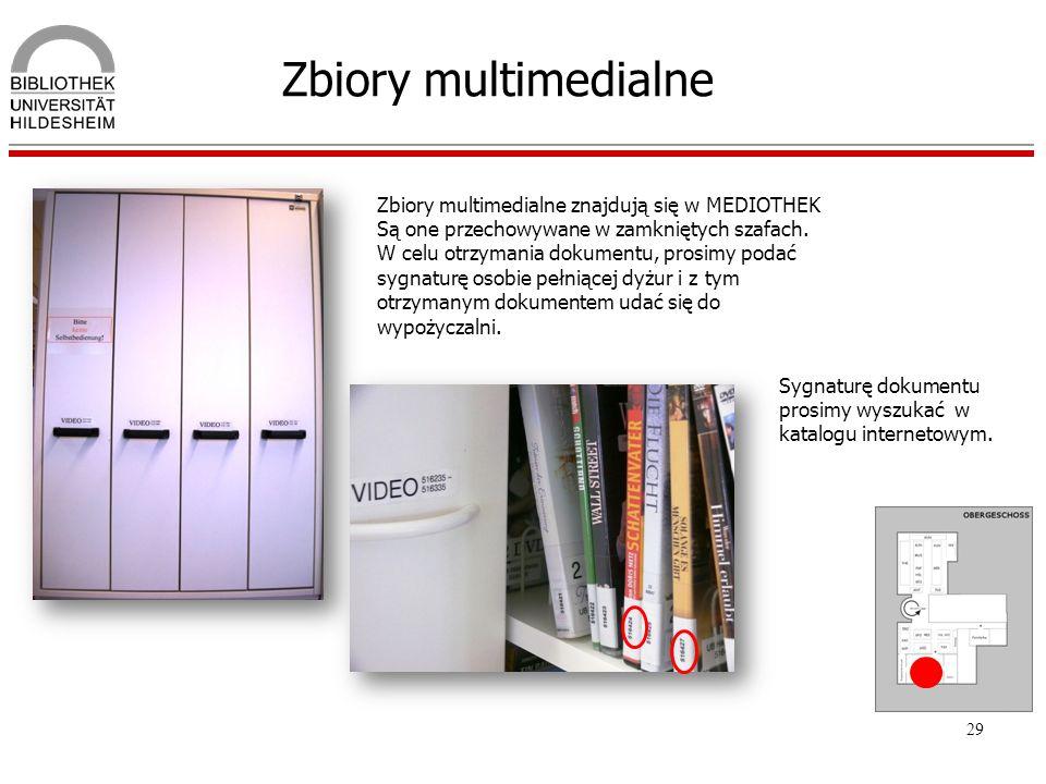 Zbiory multimedialne Zbiory multimedialne znajdują się w MEDIOTHEK Są one przechowywane w zamkniętych szafach.