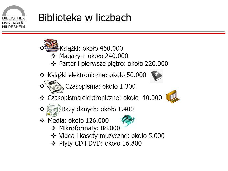 Biblioteka w liczbach Książki: około 460.000 Magazyn: około 240.000
