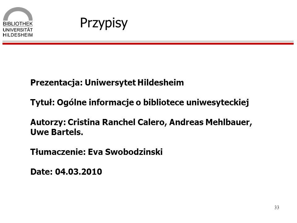 Przypisy Prezentacja: Uniwersytet Hildesheim