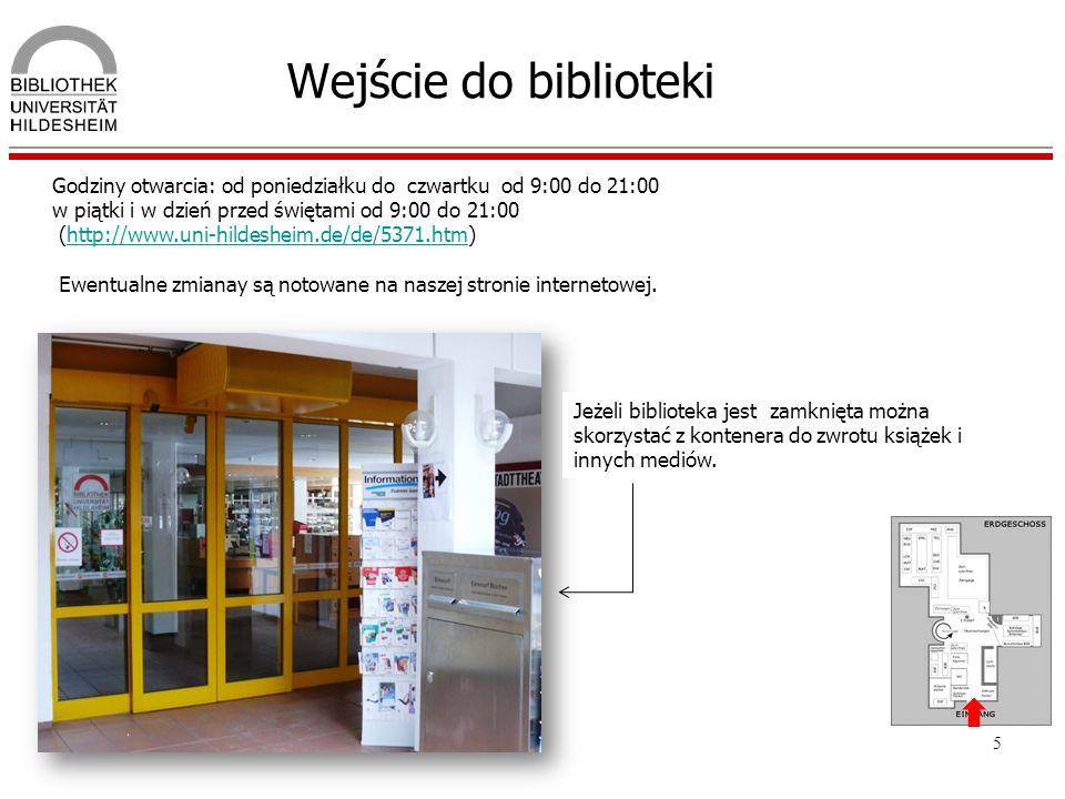 Wejście do biblioteki Godziny otwarcia: od poniedziałku do czwartku od 9:00 do 21:00. w piątki i w dzień przed świętami od 9:00 do 21:00.