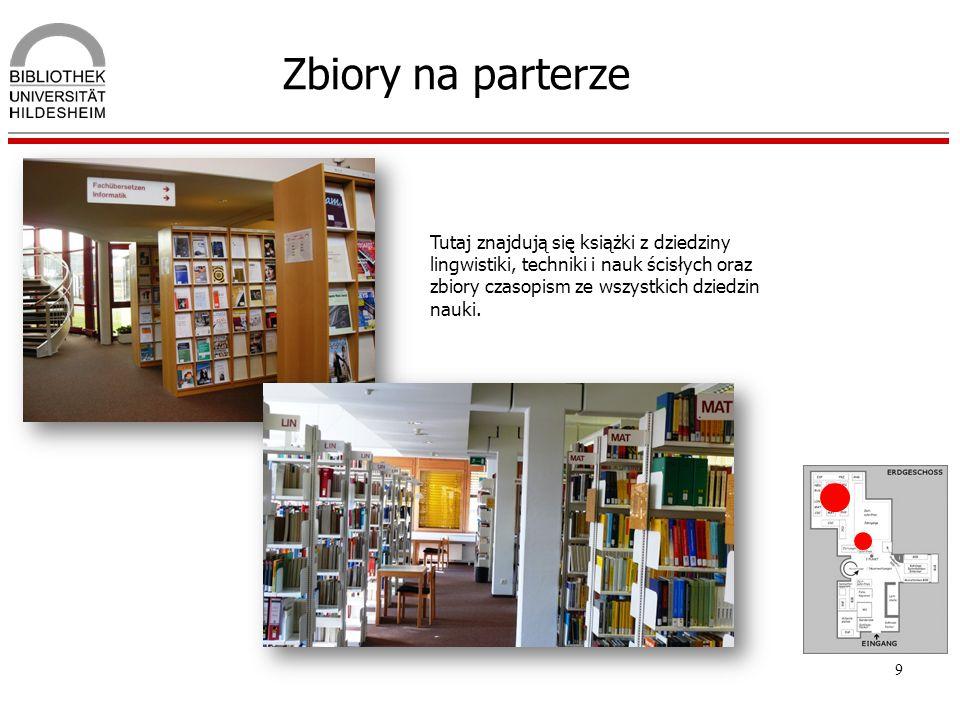 Zbiory na parterze Tutaj znajdują się książki z dziedziny lingwistiki, techniki i nauk ścisłych oraz zbiory czasopism ze wszystkich dziedzin nauki.