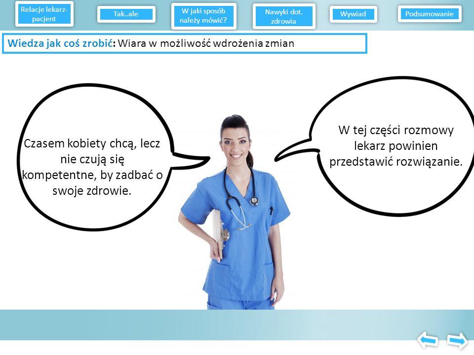 W tej części rozmowy lekarz powinien przedstawić rozwiązanie.
