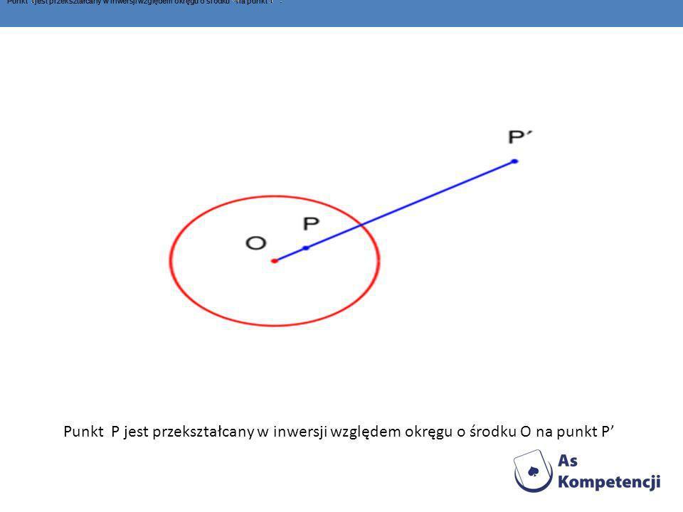 Punkt jest przekształcany w inwersji względem okręgu o środku na punkt