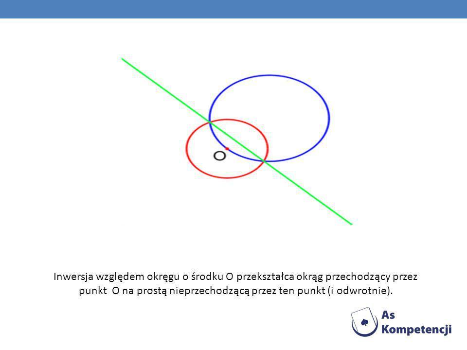 Inwersja względem okręgu o środku O przekształca okrąg przechodzący przez punkt O na prostą nieprzechodzącą przez ten punkt (i odwrotnie).