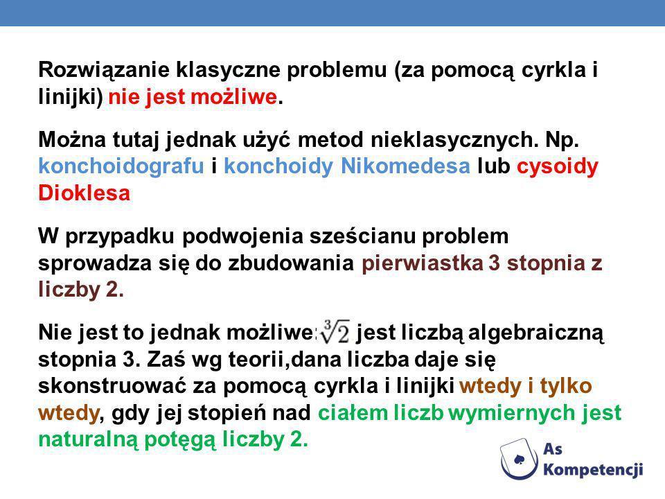Rozwiązanie klasyczne problemu (za pomocą cyrkla i linijki) nie jest możliwe.