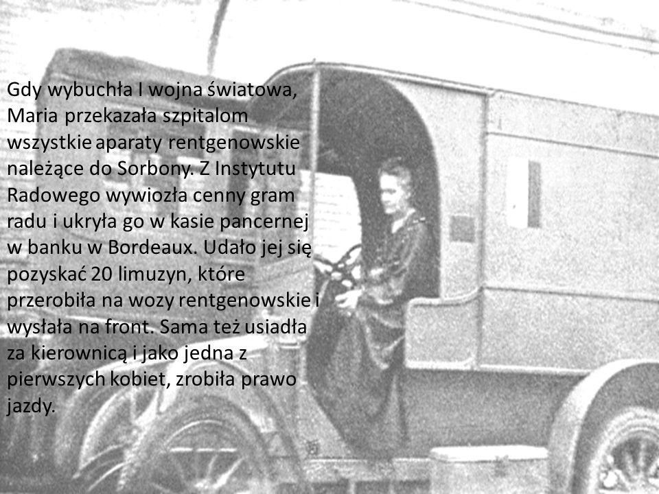 Gdy wybuchła I wojna światowa, Maria przekazała szpitalom wszystkie aparaty rentgenowskie należące do Sorbony.