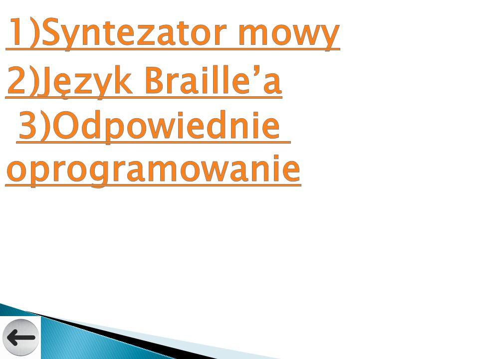 1)Syntezator mowy 2)Język Braille'a 3)Odpowiednie oprogramowanie