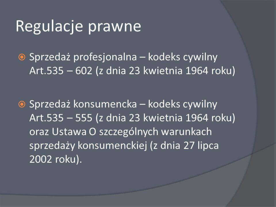 Regulacje prawne Sprzedaż profesjonalna – kodeks cywilny Art.535 – 602 (z dnia 23 kwietnia 1964 roku)