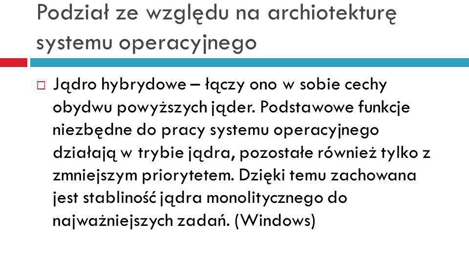 Podział ze względu na archiotekturę systemu operacyjnego
