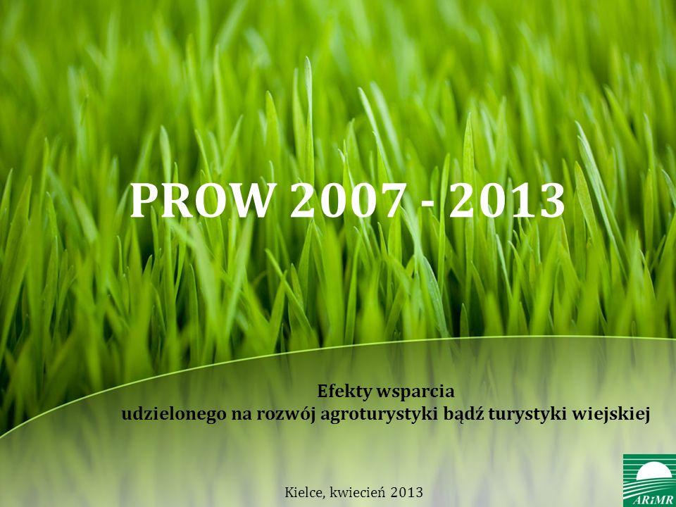 PROW 2007 - 2013 Efekty wsparcia udzielonego na rozwój agroturystyki bądź turystyki wiejskiej.