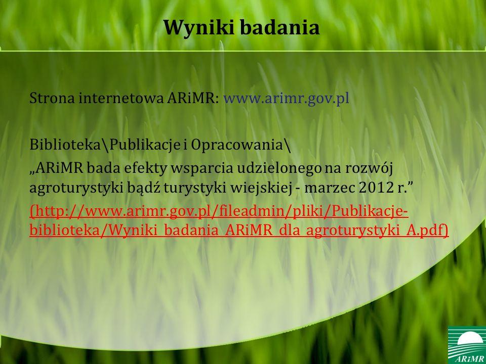 Wyniki badania Strona internetowa ARiMR: www.arimr.gov.pl
