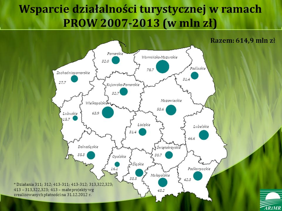 Wsparcie działalności turystycznej w ramach PROW 2007-2013 (w mln zł)