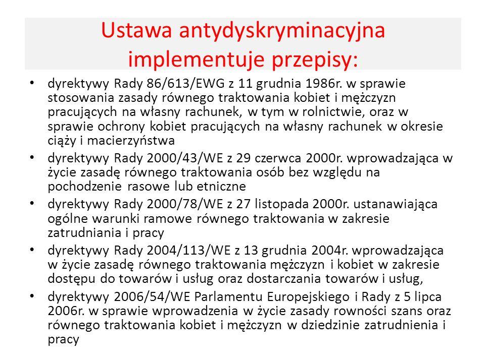 Ustawa antydyskryminacyjna implementuje przepisy: