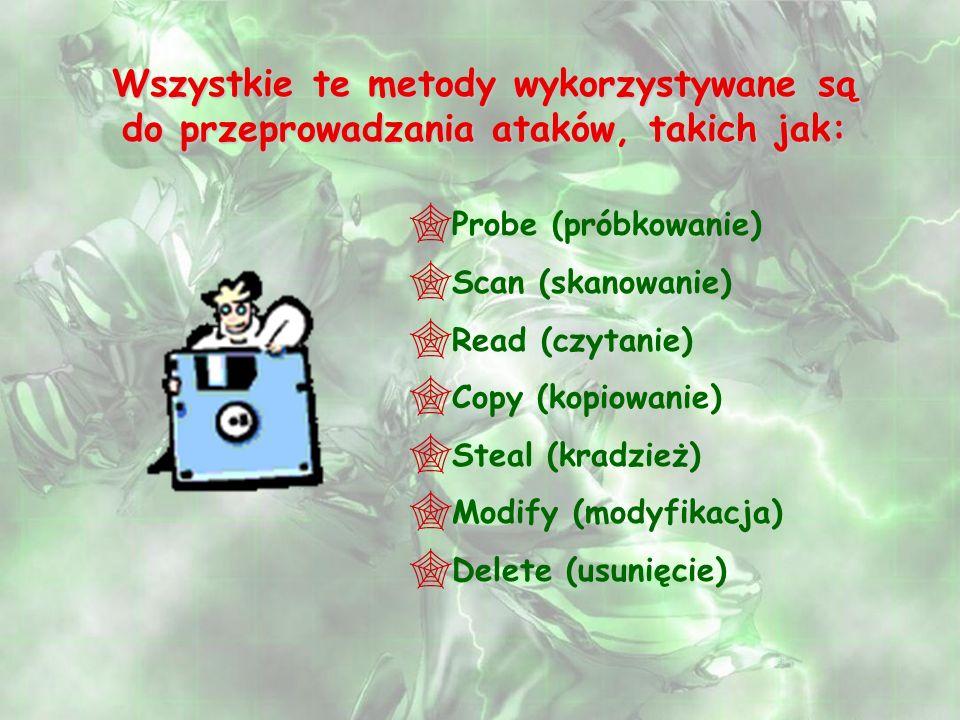 Wszystkie te metody wykorzystywane są do przeprowadzania ataków, takich jak: