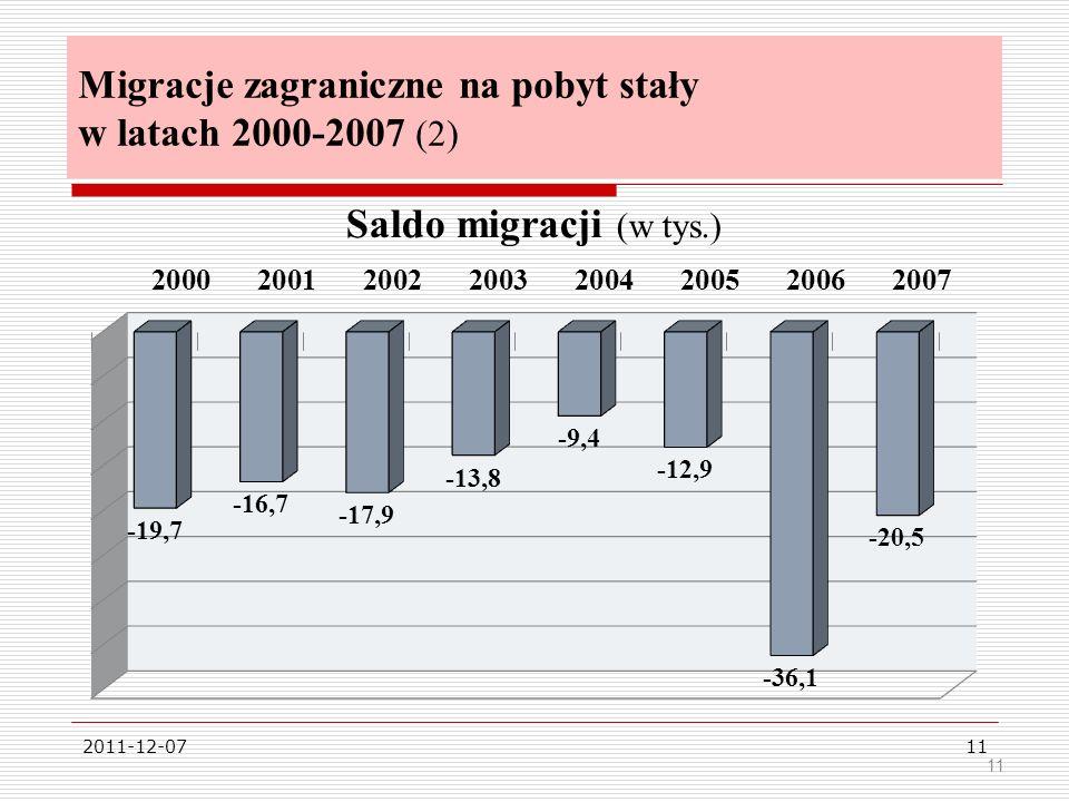 Migracje zagraniczne na pobyt stały w latach 2000-2007 (2)