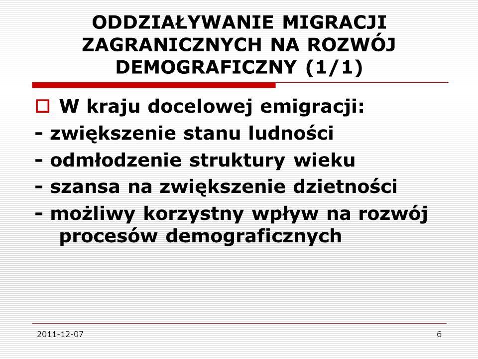 ODDZIAŁYWANIE MIGRACJI ZAGRANICZNYCH NA ROZWÓJ DEMOGRAFICZNY (1/1)