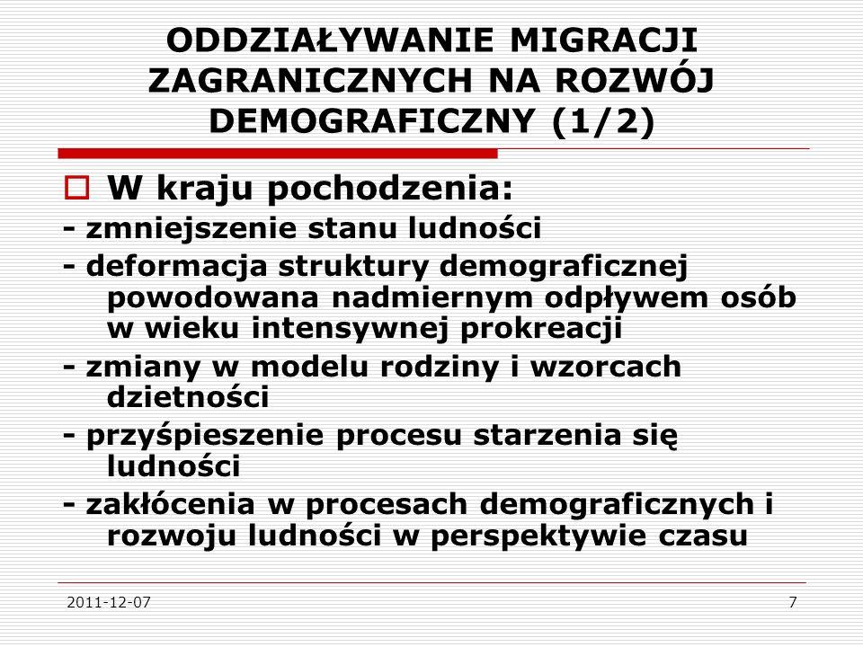 ODDZIAŁYWANIE MIGRACJI ZAGRANICZNYCH NA ROZWÓJ DEMOGRAFICZNY (1/2)