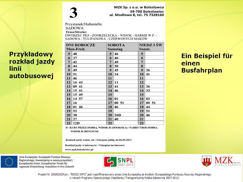 Przykładowy rozkład jazdy linii autobusowej