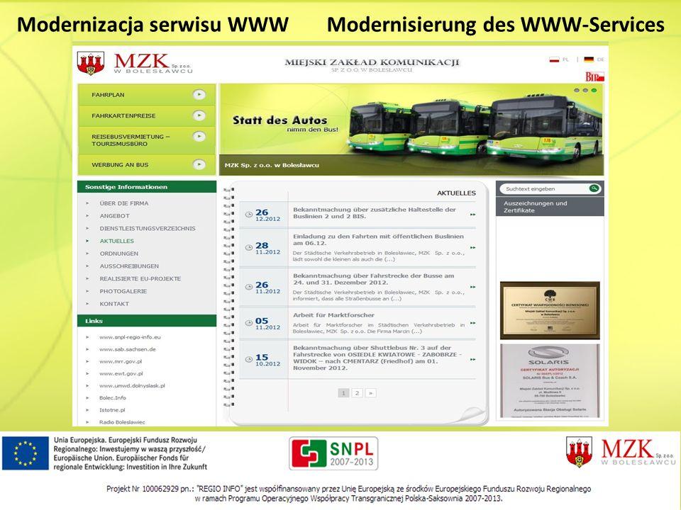 Modernizacja serwisu WWW Modernisierung des WWW-Services
