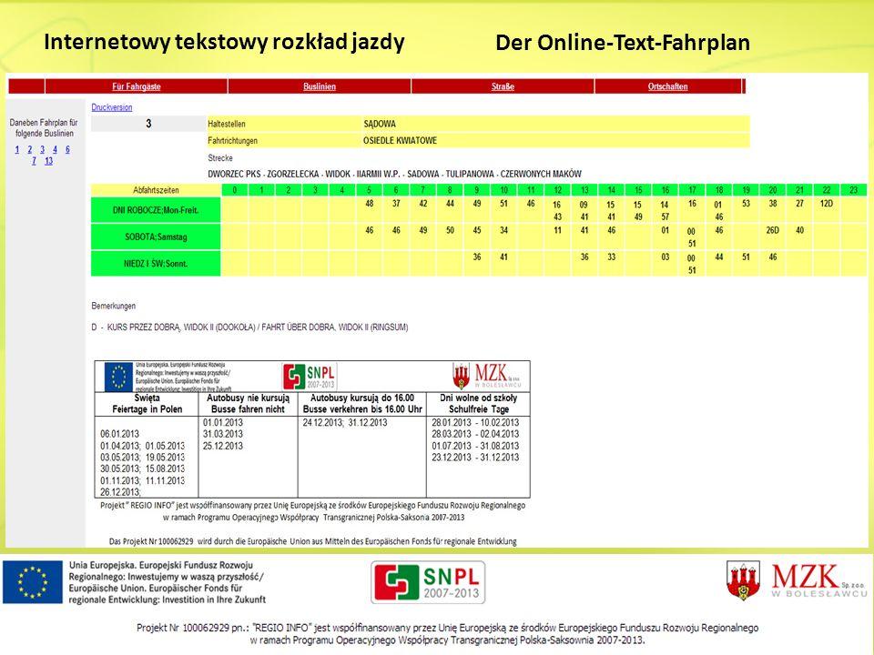 Internetowy tekstowy rozkład jazdy Der Online-Text-Fahrplan