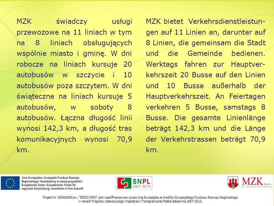 MZK świadczy usługi przewozowe na 11 liniach w tym na 8 liniach obsługujących wspólnie miasto i gminę. W dni robocze na liniach kursuje 20 autobusów w szczycie i 10 autobusów poza szczytem. W dni świąteczne na liniach kursuje 5 autobusów, w soboty 8 autobusów. Łączna długość linii wynosi 142,3 km, a długość tras komunikacyjnych wynosi 70,9 km.