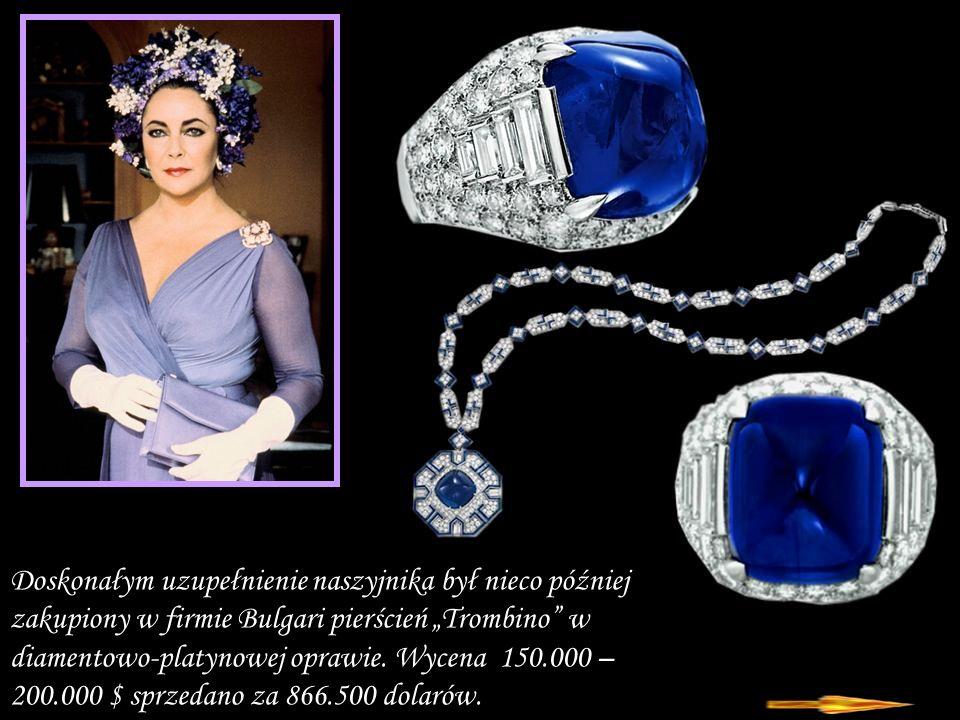 """Doskonałym uzupełnienie naszyjnika był nieco później zakupiony w firmie Bulgari pierścień """"Trombino w diamentowo-platynowej oprawie."""