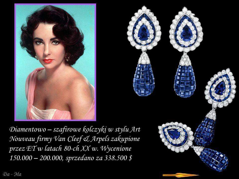 Diamentowo – szafirowe kolczyki w stylu Art Nouveau firmy Van Cleef & Arpels zakupione przez ET w latach 80-ch XX w.