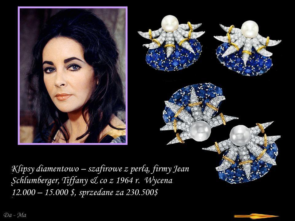 Klipsy diamentowo – szafirowe z perłą, firmy Jean Schlumberger, Tiffany & co z 1964 r.