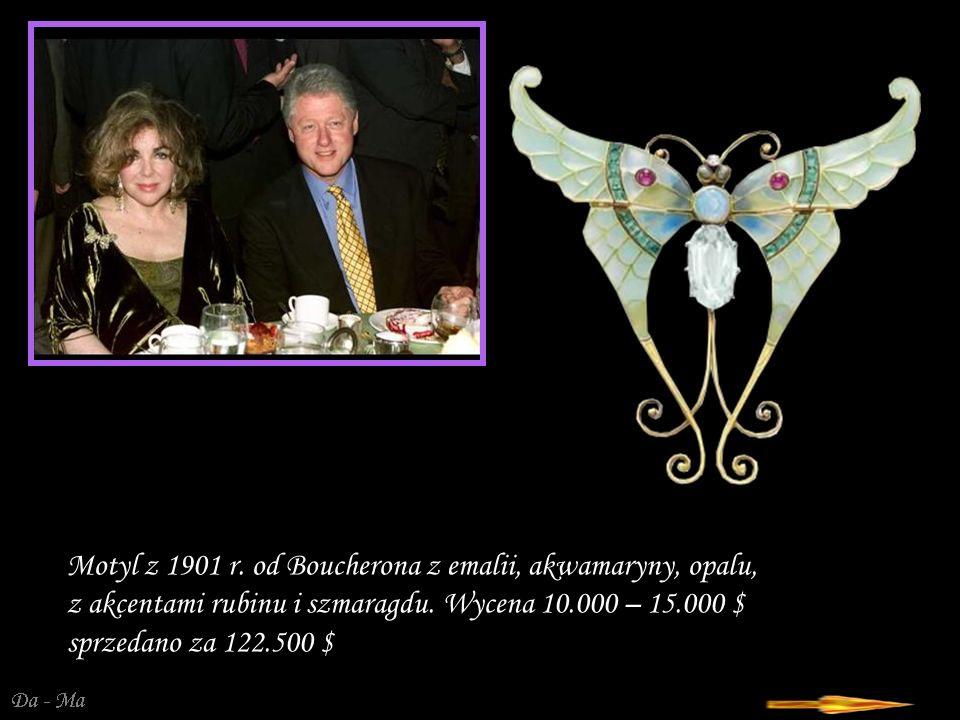 Motyl z 1901 r. od Boucherona z emalii, akwamaryny, opalu, z akcentami rubinu i szmaragdu.