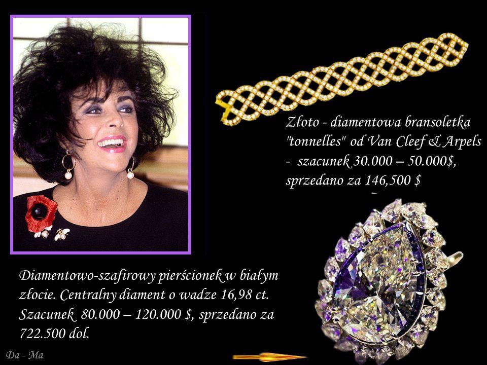 Złoto - diamentowa bransoletka tonnelles od Van Cleef & Arpels - szacunek 30.000 – 50.000$, sprzedano za 146,500 $