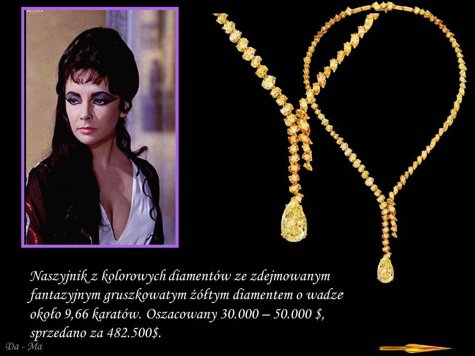 Naszyjnik z kolorowych diamentów ze zdejmowanym fantazyjnym gruszkowatym żółtym diamentem o wadze około 9,66 karatów. Oszacowany 30.000 – 50.000 $, sprzedano za 482.500$.