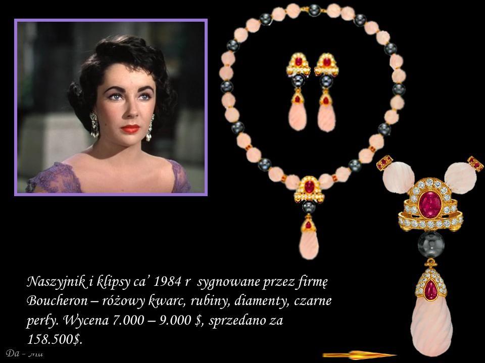 Naszyjnik i klipsy ca' 1984 r sygnowane przez firmę Boucheron – różowy kwarc, rubiny, diamenty, czarne perły.