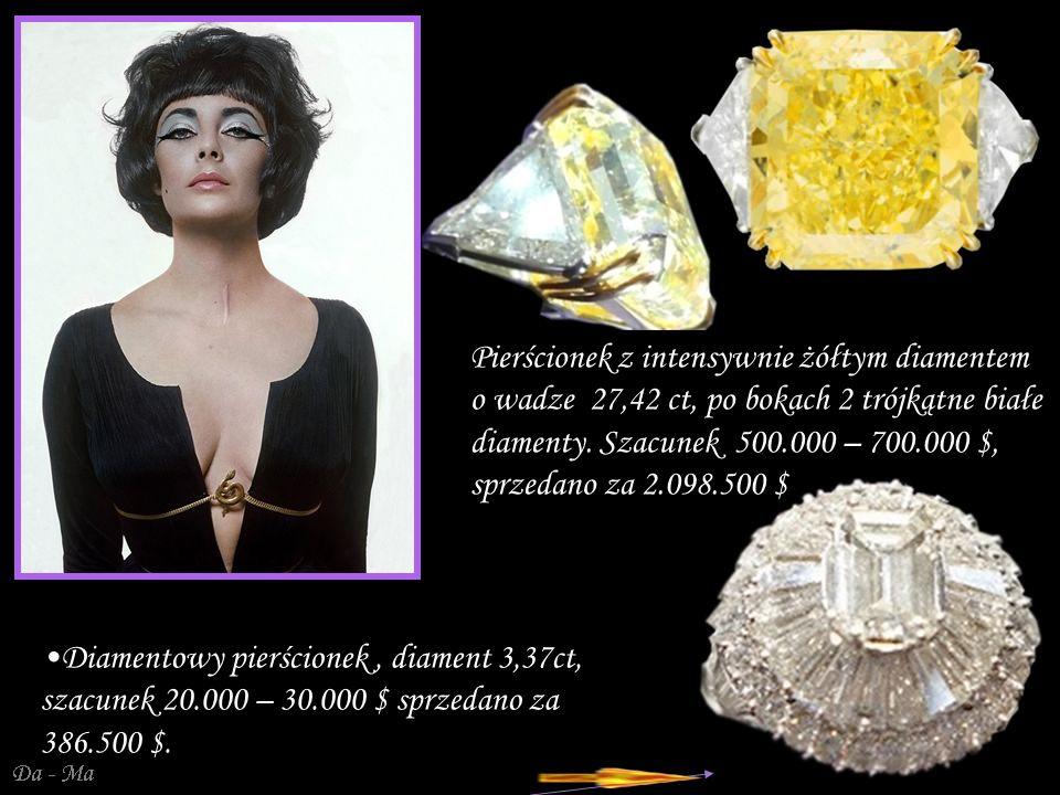 Pierścionek z intensywnie żółtym diamentem o wadze 27,42 ct, po bokach 2 trójkątne białe diamenty. Szacunek 500.000 – 700.000 $, sprzedano za 2.098.500 $