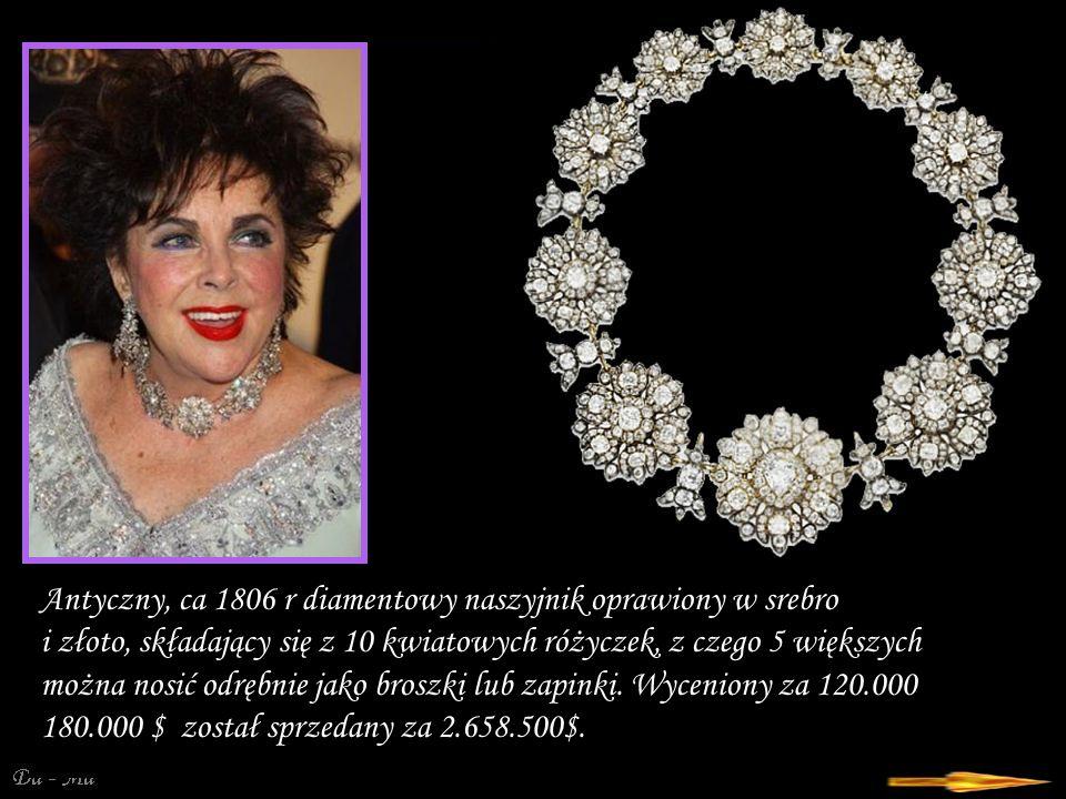 Antyczny, ca 1806 r diamentowy naszyjnik oprawiony w srebro i złoto, składający się z 10 kwiatowych różyczek, z czego 5 większych można nosić odrębnie jako broszki lub zapinki.