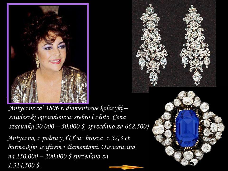 Antyczne ca' 1806 r. diamentowe kolczyki – zawieszki oprawione w srebro i złoto. Cena szacunku 30.000 – 50.000 $, sprzedano za 662.500$