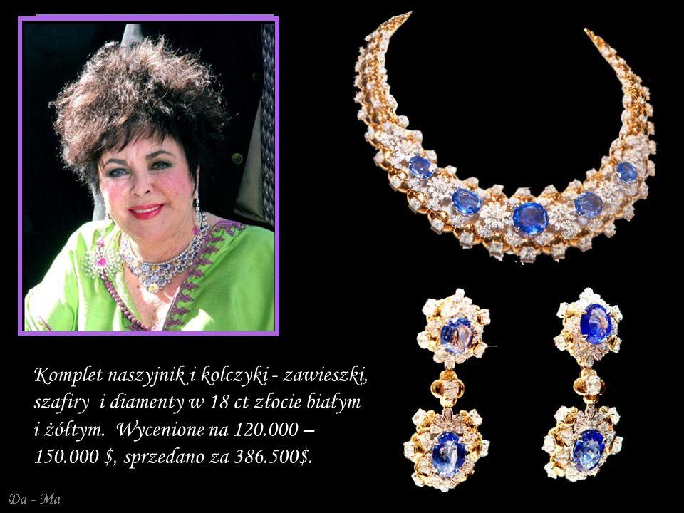 Komplet naszyjnik i kolczyki - zawieszki, szafiry i diamenty w 18 ct złocie białym i żółtym.