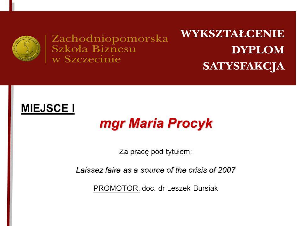 mgr Maria Procyk MIEJSCE I