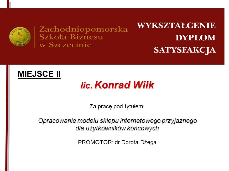 lic. Konrad Wilk MIEJSCE II