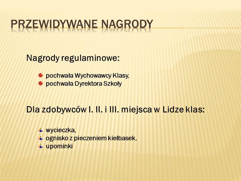 Przewidywane nagrody Nagrody regulaminowe: