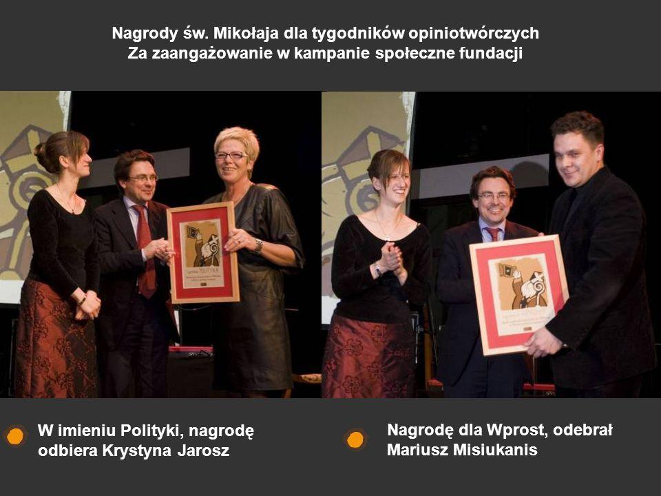 Nagrody św. Mikołaja dla tygodników opiniotwórczych Za zaangażowanie w kampanie społeczne fundacji