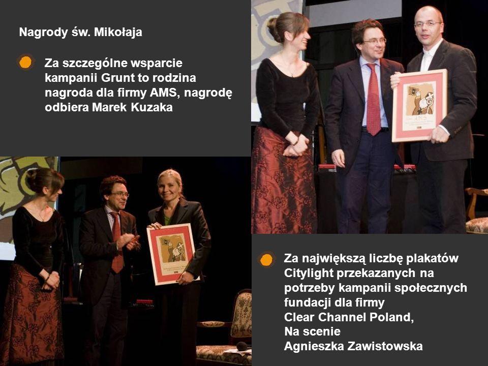 Nagrody św. MikołajaZa szczególne wsparcie kampanii Grunt to rodzina nagroda dla firmy AMS, nagrodę odbiera Marek Kuzaka.