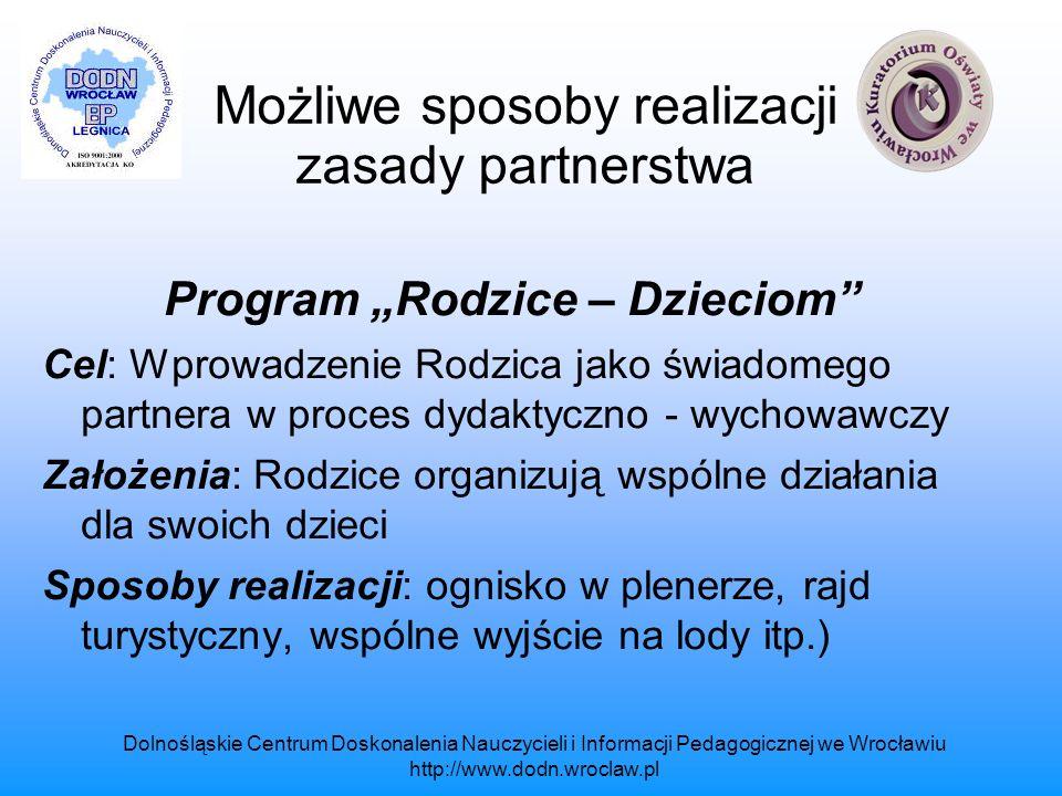 Możliwe sposoby realizacji zasady partnerstwa