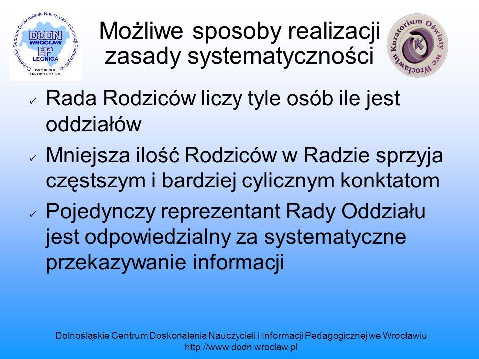 Możliwe sposoby realizacji zasady systematyczności